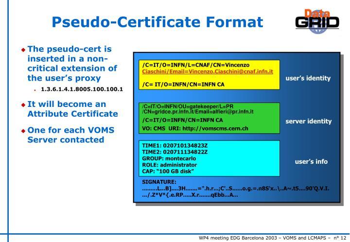 Pseudo-Certificate Format