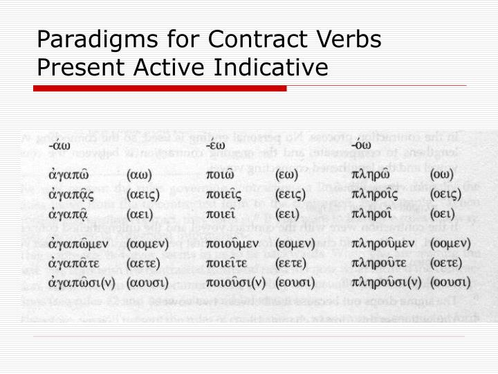 Paradigms for Contract Verbs