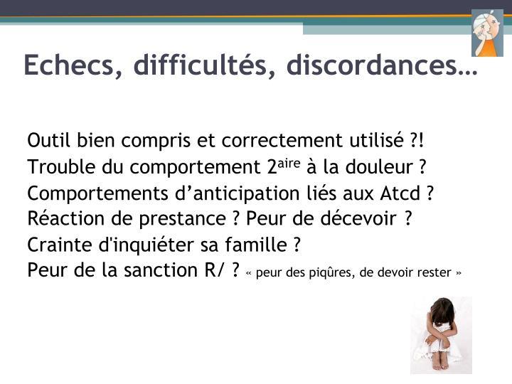 Echecs, difficultés, discordances…