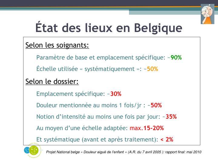 État des lieux en Belgique