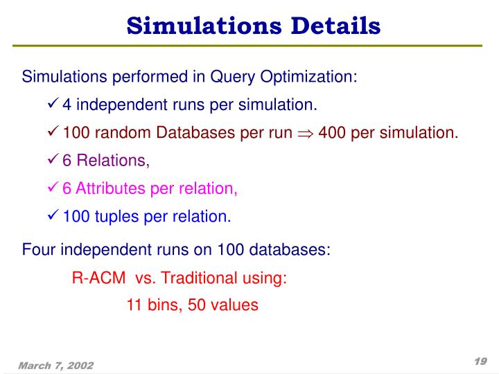 Simulations Details
