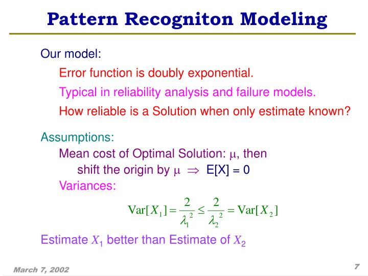 Pattern Recogniton Modeling