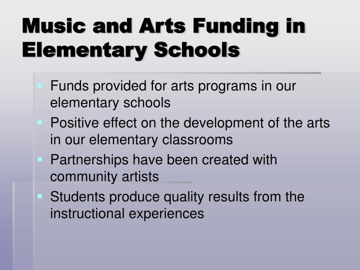 Music and Arts Funding in Elementary Schools
