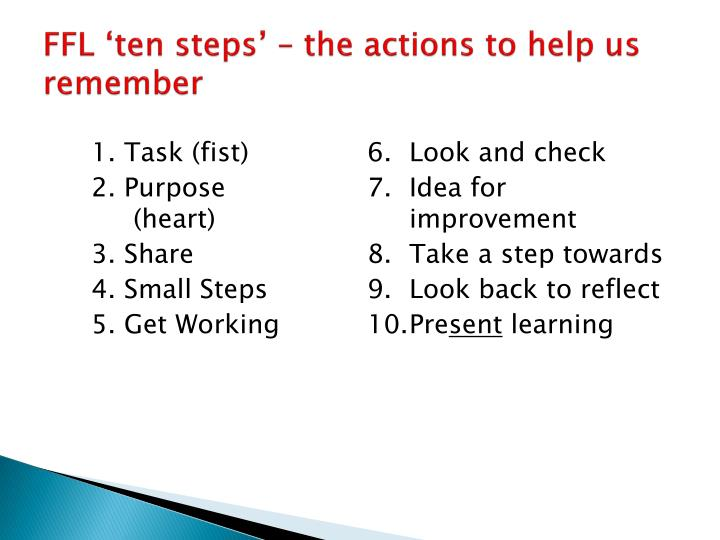 FFL 'ten steps' – the actions to help us remember