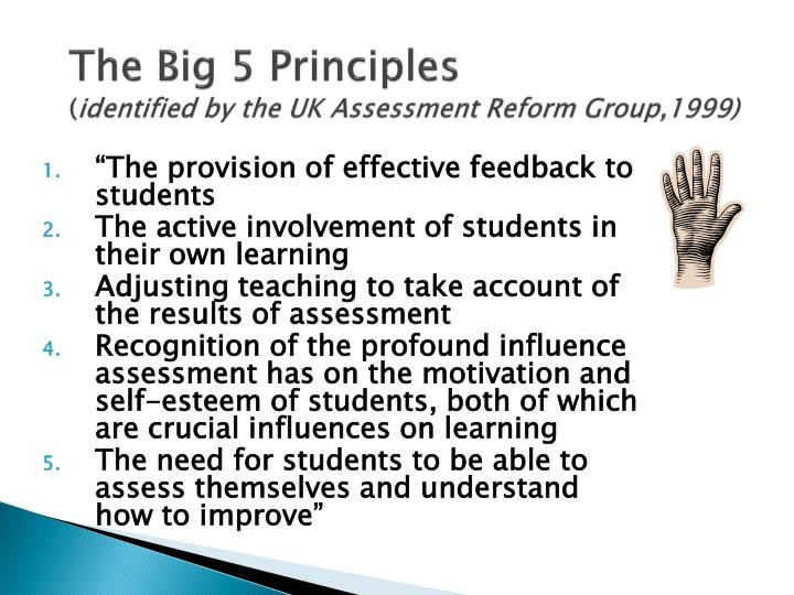 The big 5 principles identified by the uk assessment reform group 1999