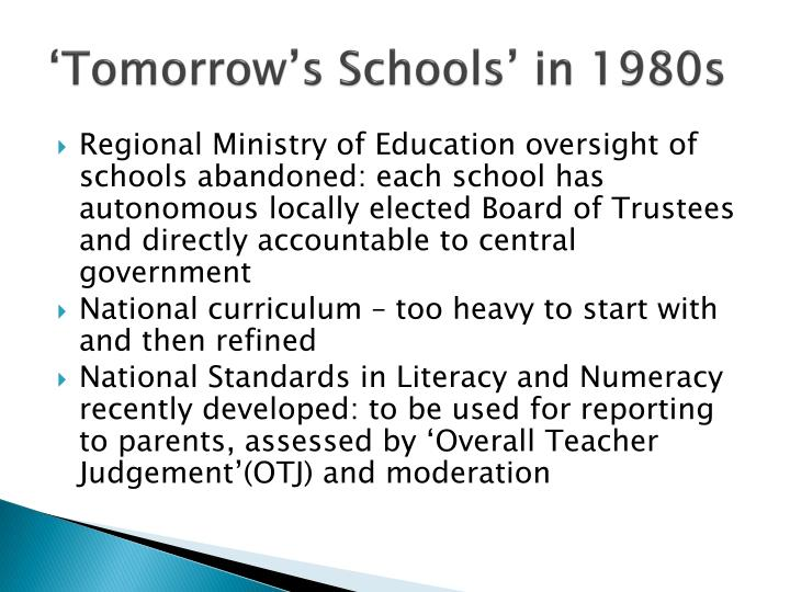 'Tomorrow's Schools' in 1980s