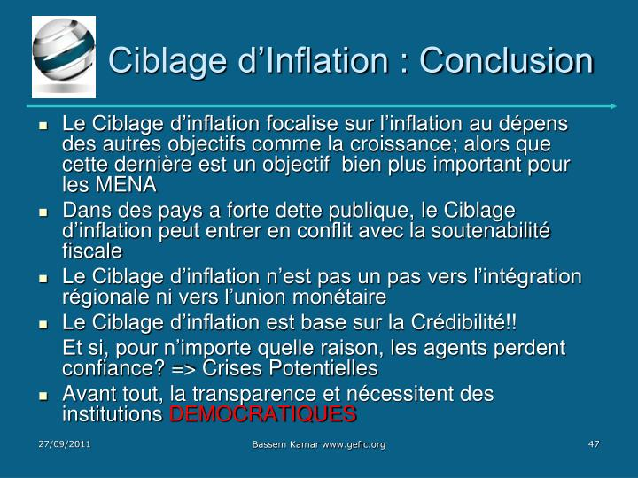 Ciblage d'Inflation : Conclusion