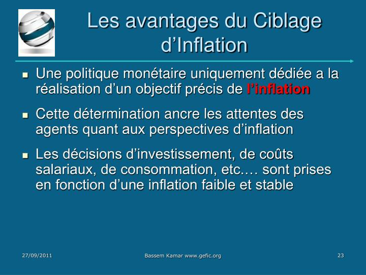 Les avantages du Ciblage d'Inflation