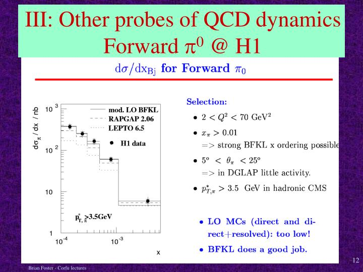 III: Other probes of QCD dynamics