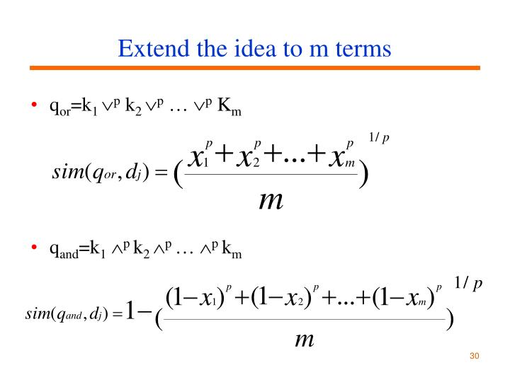 Extend the idea to m terms