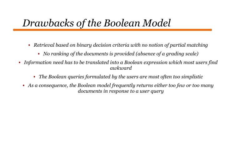 Drawbacks of the Boolean Model