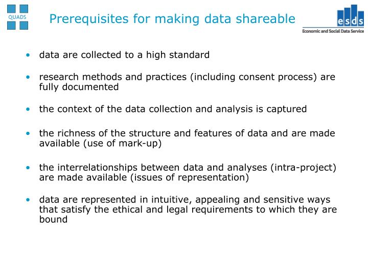 Prerequisites for making data shareable