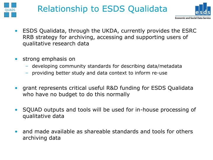 Relationship to ESDS Qualidata