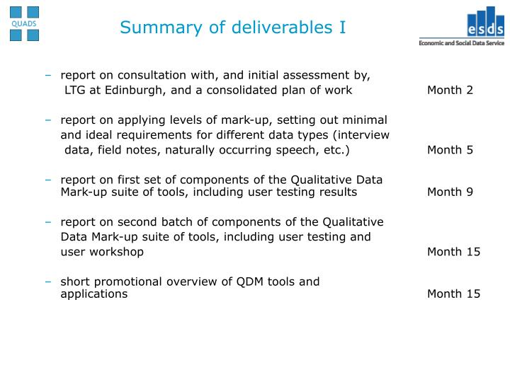Summary of deliverables I