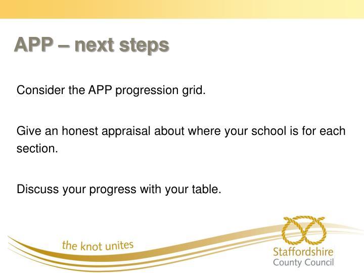 APP – next steps