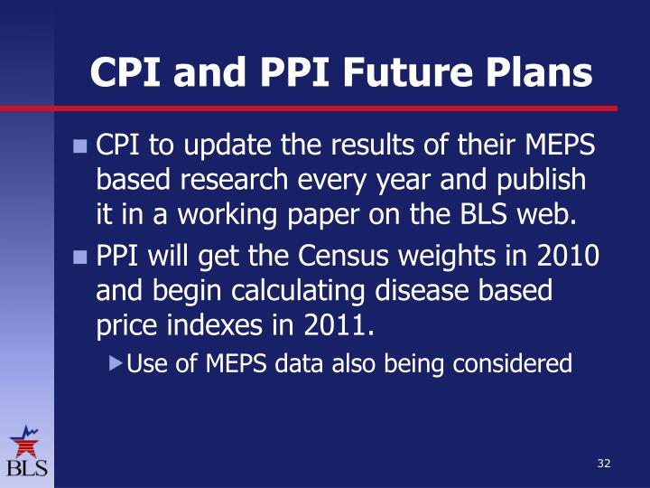 CPI and PPI Future Plans