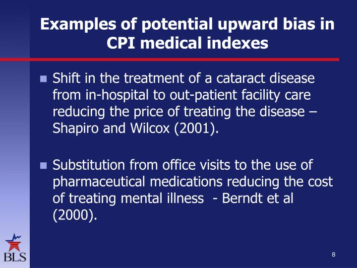 Examples of potential upward bias in CPI medical indexes