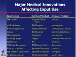 major medical innovations affecting input use