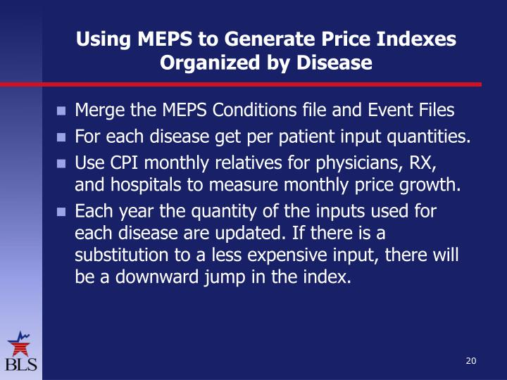 Using MEPS to Generate Price Indexes Organized by Disease
