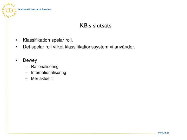 KB:s slutsats