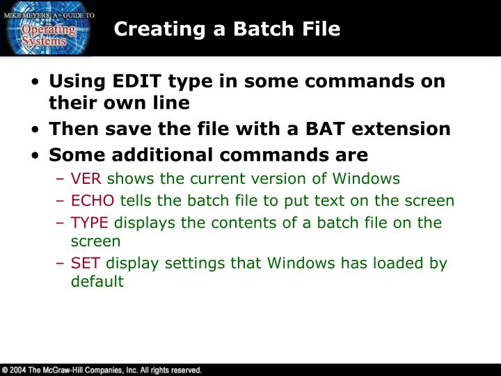 Creating a Batch File