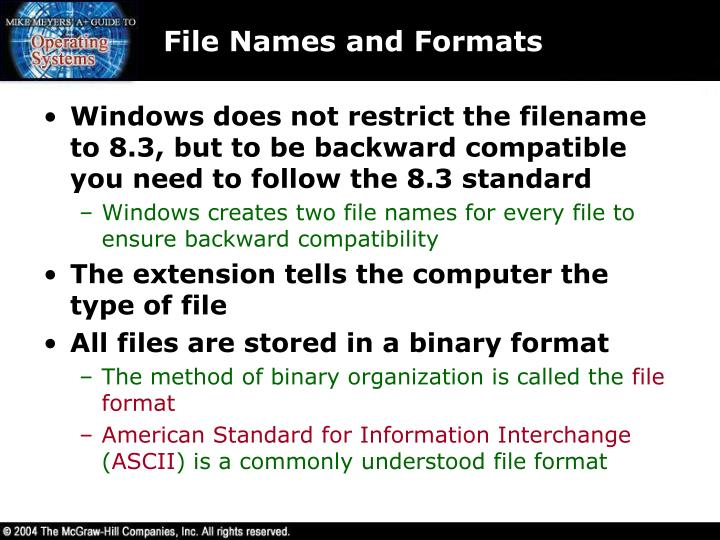 File Names and Formats