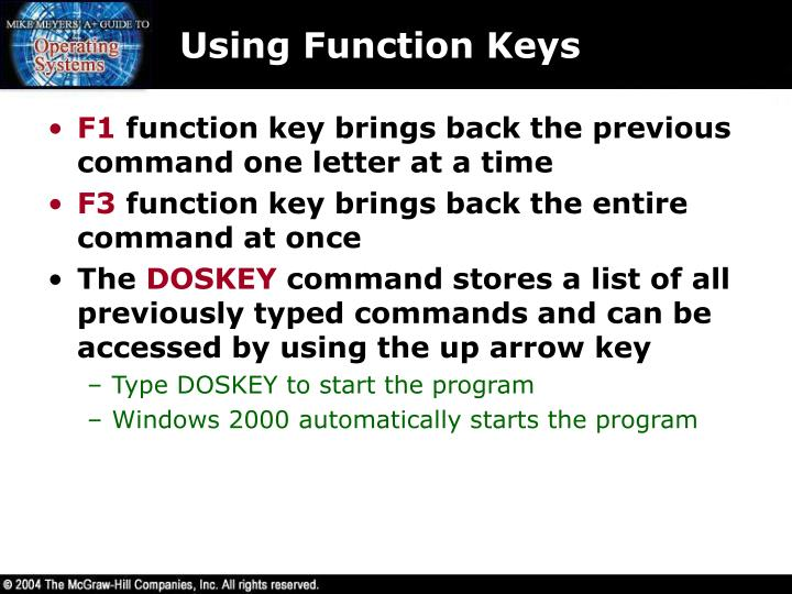 Using Function Keys