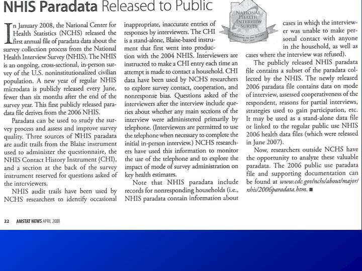NHIS Paradata Released To Public