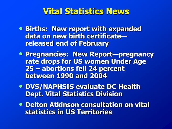 Vital Statistics News