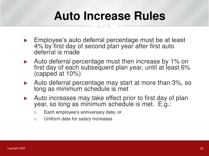 Auto Increase Rules