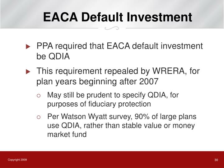 EACA Default Investment