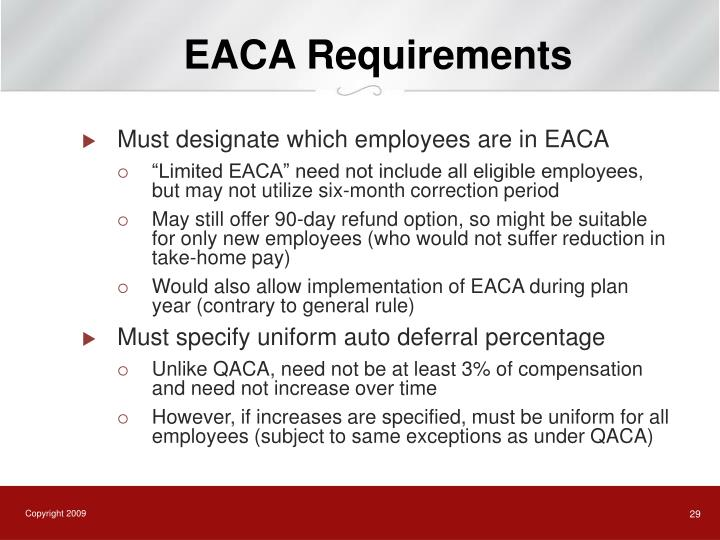 EACA Requirements