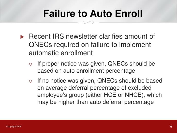 Failure to Auto Enroll