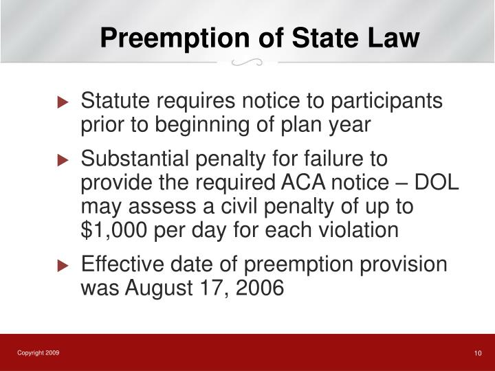 Preemption of State Law