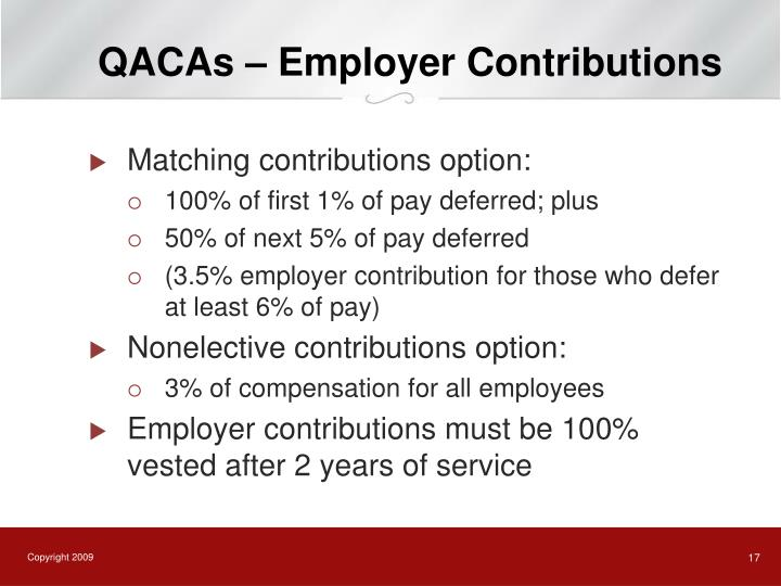 QACAs – Employer Contributions