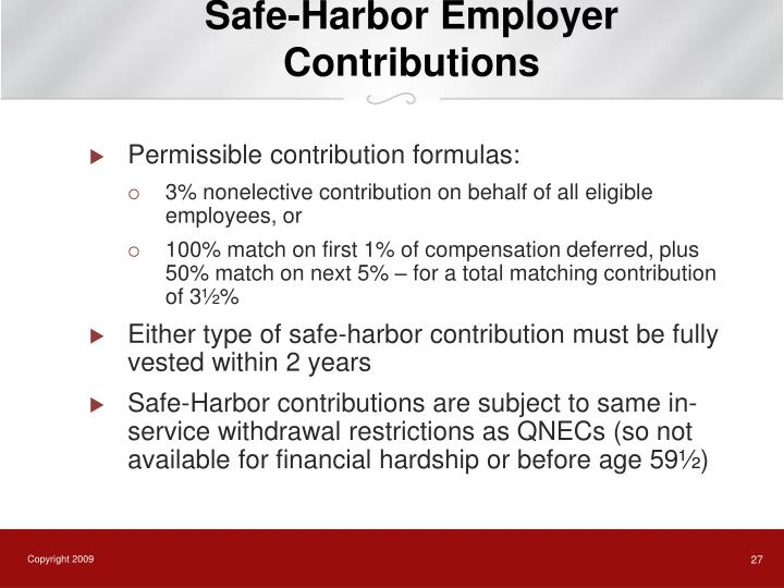 Safe-Harbor Employer Contributions