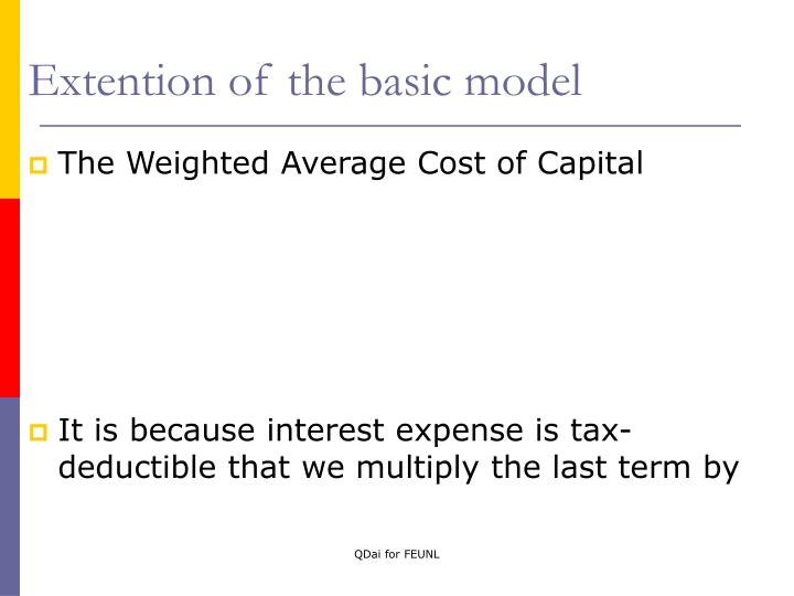 Extention of the basic model