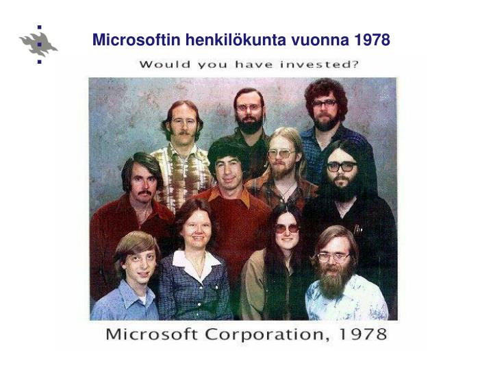 Microsoftin henkilökunta vuonna 1978