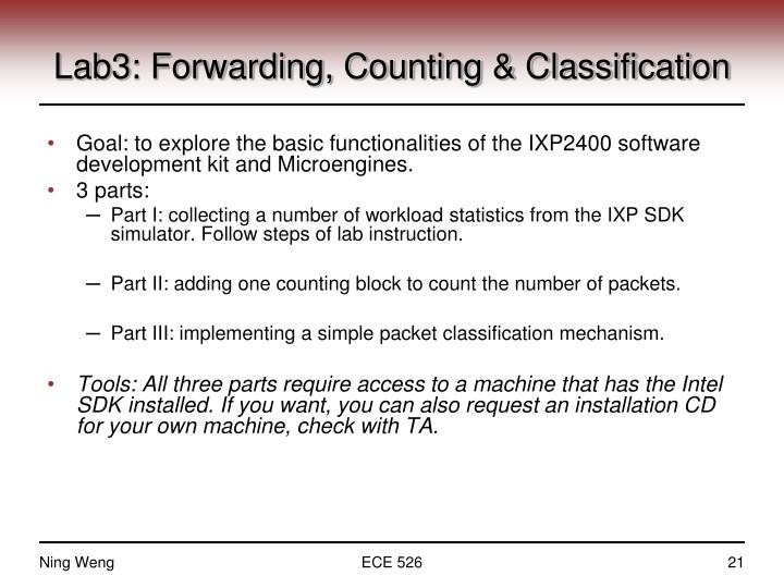 Lab3: Forwarding, Counting & Classification
