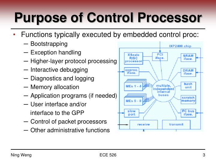 Purpose of Control Processor