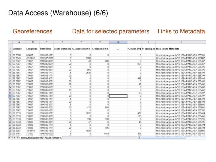 Data Access (Warehouse) (6/6)