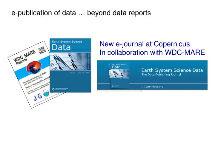 e-publication of data … beyond data reports