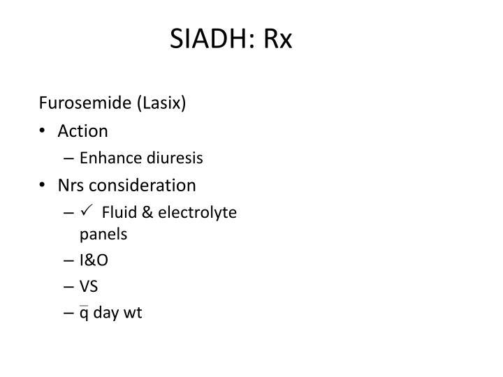 SIADH: Rx