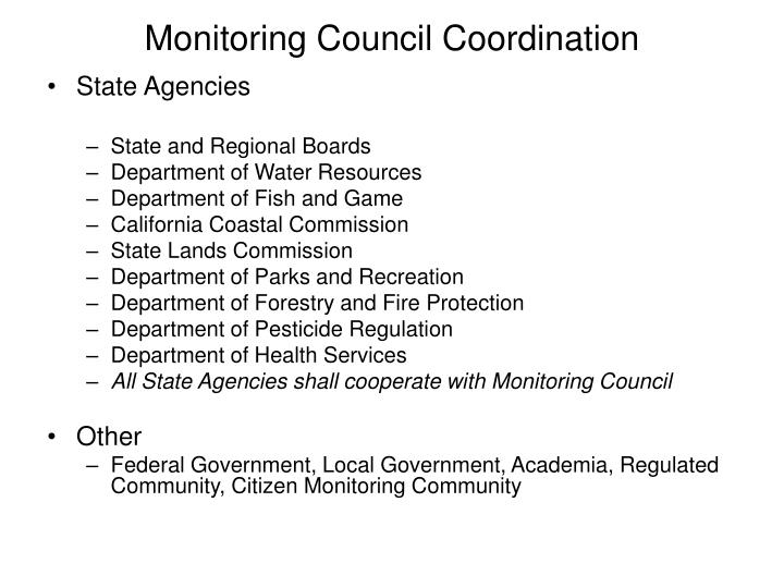 Monitoring Council Coordination