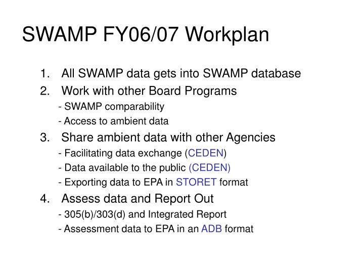 SWAMP FY06/07 Workplan