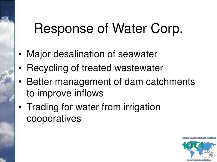 Response of Water Corp.