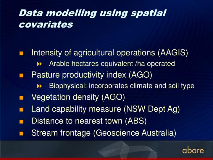 Data modelling using spatial covariates