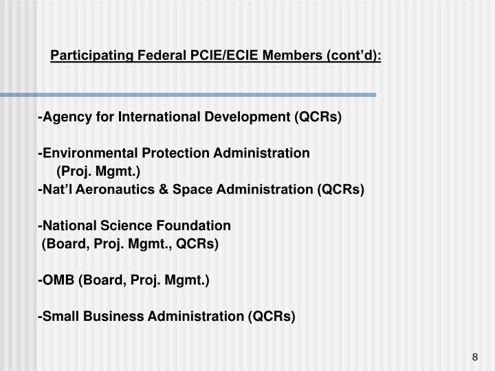 Participating Federal PCIE/ECIE Members (cont'd):