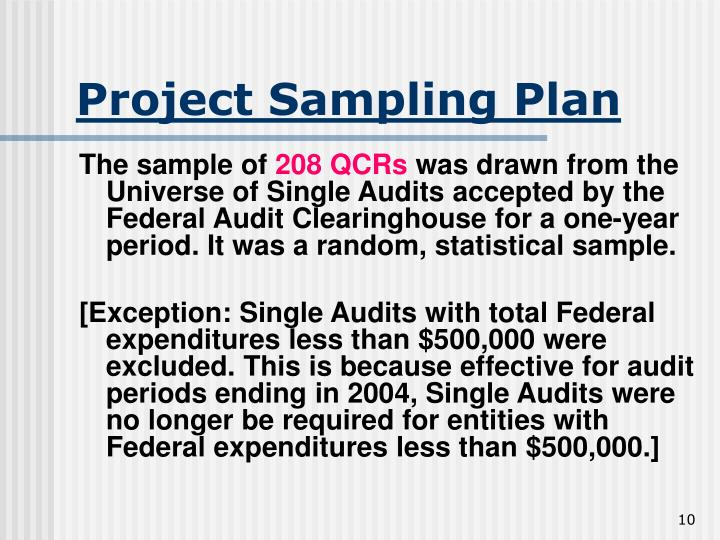 Project Sampling Plan