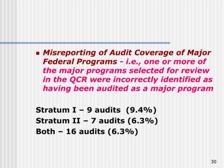 Misreporting of Audit Coverage of Major Federal Programs